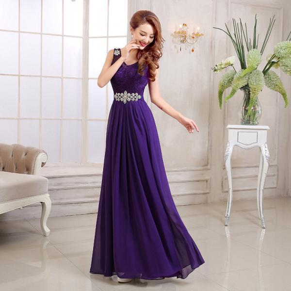 Quality Chiffon Long Section Bridesmaid Dress Double Shoulder Straps Beading Sash Toast Dress for sale