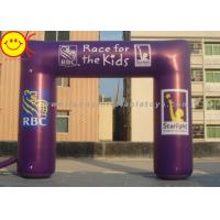 Event Nylon Fabric Custom Purple Inflatable Race Arch With Banners 13ft - 50ft Wide Manufactures