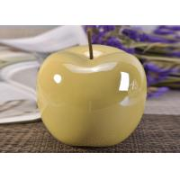 Decorative Ceramic Wedding Table Centerpieces Yellow Glazed Apple Shaped Manufactures