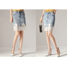 Buy cheap Lace Hem Women Patch Pocket Rips Denim Short Skirt from wholesalers