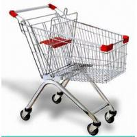 China Steel Wire Shopping Trolley Grocery , Supermarket Folding Wire Shopping Cart With Seat on sale
