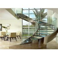 Round Curved Glass Staircase Stainless Steel Building Stairs Easy Assemblying Manufactures