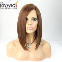China Unprocessed top grade short hair cut medium brown color human hair bob style lace front wig on sale