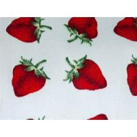 Red Strawberry Printed Cotton Canvas / Anti Dirt Baby Cotton Fabric Manufactures