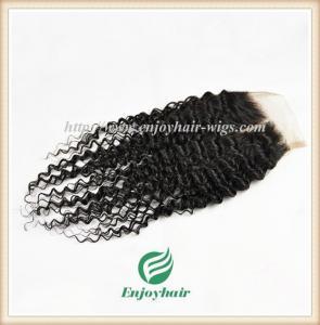 Lace top closure 5''x5'' ,brazilian virgin hair natural color deep curly 10''-24''length Manufactures