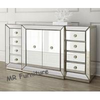 59 Inches Mirrored Buffet Cabinet , Fashionable Mirrored Buffet And Sideboards Manufactures