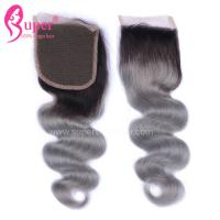 4*4 Free Part Virgin Hair Closures Steam Processed Double Drawn Dark Ombre Color Manufactures