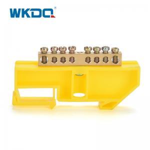 500V / 17.5A PE Ground Terminal Bus Bar Yellow Din Rail Terminal Blocks Manufactures