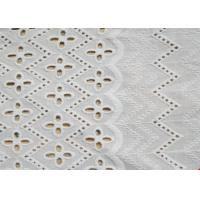 China African Bridal Cotton Eyelet Lace Fabric , Embroidered Cotton Lace Curtain Fabric on sale
