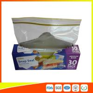 Supermarket Reuseable Plastic Clear Sandwich Bags Zipper Top 22 * 25cm