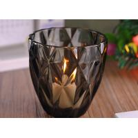 Coloring Material Wedding Glass Candle Holder With Diamond Design , eco Friendly Manufactures