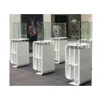 China Shining White Coating Custom Glass Display Cases With High Pole LED Lights on sale