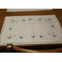 Embroidered Patchwork White Cotton Tablecloths Rectangular With Logo Customized Manufactures