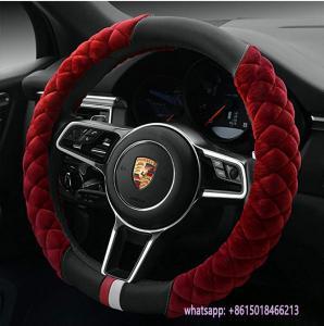 new design red fur black pu warmer 38cm car steering wheel cover Manufactures