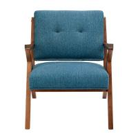 China Blue Arm Accent Chair Deattached Seat , Fabric Living Room Chairs Tight Back on sale