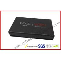 China rigid board handmade cosmetic packaging box with mirror, black box with plastic inner logo foil on sale