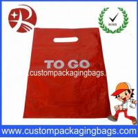 Red Customer Packaging Die Cut Handle Plastic Bags For Shopping