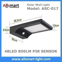 Quality 48LED 850LM PIR Solar Sensor Wall Light With 4400mAh Li-ion Battery Black Lampshade For Road Garden Yard Illuminating for sale