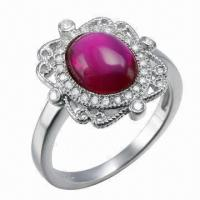 Ruby Silver Ring, Customized Designs, OEM and ODM Orders Welcomed Manufactures