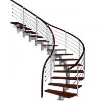 Prefabricated steel curved staircase with tempered glass balustrade Manufactures