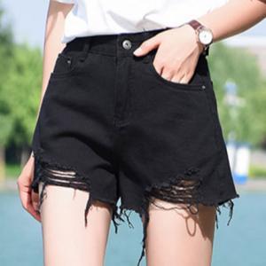 Black Wash Mid Rise Jeans Girls Denim Shorts Rips On Hem Summer Fashion Style Manufactures