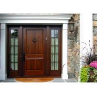 Mahogany Solid Wood Front Doors , Solid Wood Entrance Doors Tempered Glass For Villa Manufactures