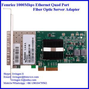 1Gbps 4 ports Ethernet PCI Express 4 fiber optical Server network adapter, SFP Slot Manufactures