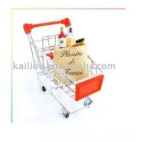 Small Supermarket Shopping Trolley with advertisement board in red and metal base in chrome Manufactures