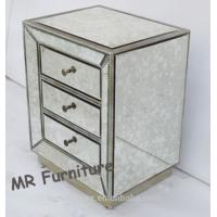 Antique Glass Mirrored Bedside Table , Professional Mirrored Bedroom Side Tables Manufactures