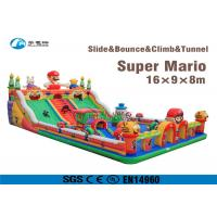 Super Mario Inflatable Slide Fire Retardant Bouncy Castle With Slide Manufactures