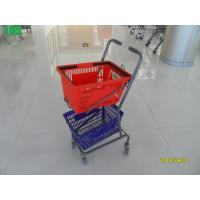 Red / Blue Supermarket Shopping Trolley With 4 Swivel 3 Inch PVC Casters Manufactures