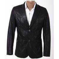 Two Buttons Custom Inexpensive Black and Size 46, Size 50, Fashion Mens PU Leather Blazers Manufactures