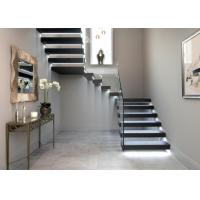 Solid Oak Wood Treads Building Floating Stairs With Tempered Glass Railing Manufactures