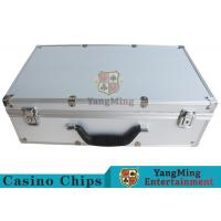 Easy To Carry Casino Game Accessories Aluminum Round Chip Case With Handle Manufactures