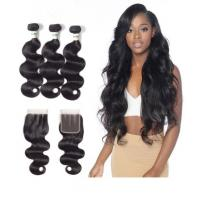 100% Virgin Brazilian Wavy Long Hair Bundles Three Part 4 X 4 Closure