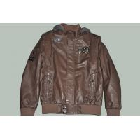 OEM Size 50, Black / Coffee and Designer Male Fitted Hooded Leather Jackets for Gentleman Manufactures
