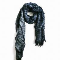 Lady's Scarf with Tassels and Jacquard Pattern, Made of 100% Viscose Manufactures