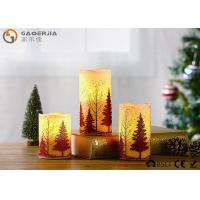 S/3 Glittering Christmas Tree Decorative Candles LED Christmas Pillar Candles Manufactures