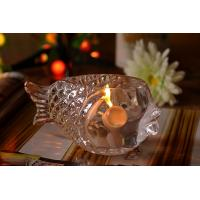 Fashional Creative Clear Glass Tealight Candle Holders Small Gold Fish Manufactures