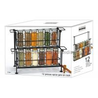 SGS/FDA 12 pieces small glass spice jars with lids on rack 2 tier , 90ml for spicy Manufactures