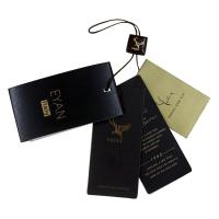 Luxury Shining Paper Clothing Hang Tag Personized Darkbrown Nylon Strings Manufactures