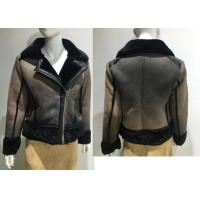 Fur Collar Fully Lined Ladies PU Jacket Faux Fur Coat Flat Pack With Plastic Bag Manufactures