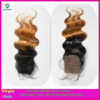 Buy cheap Silk lace closure 3.5''x4'' peruvian virgin hair ombre1b/27# color,body wave from wholesalers
