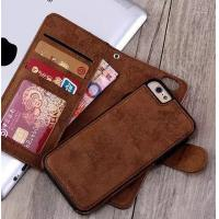 2 In 1 Iphone 7 Leather Wallet Case , Oil Leather Vintage Wallet Case Manufactures