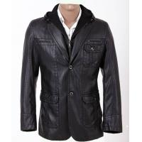 Designer Gentleman Jacket , Warm and Personality Hooded Leather Coat For Charm men Manufactures
