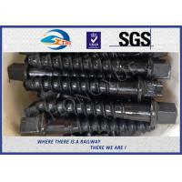 Custom Railway / Railroad Track Spikes , Threaded Screw Spike With Plain Oiled Coating Manufactures