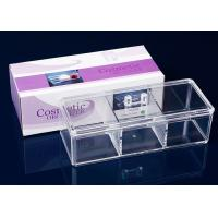 3 Compartments Acrylic Makeup Display Stand Clear Plastic Swab Box With Lid Handle Manufactures