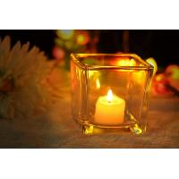 7 oz Square Thick modern glass candle holders / 230ml glass jar candle holders Manufactures