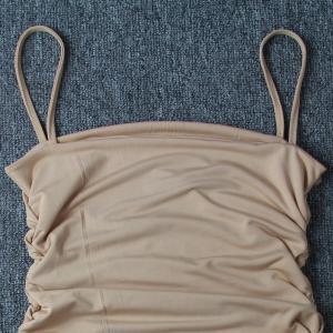 Spaghetti Straps Club Stretch 66cm Sleeveless Pleated Bodycon Dress Manufactures