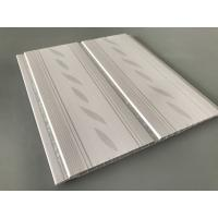 Quality 200*7mm Middle Groove Decorative Plastic Ceiling Panels With Two Silver Line for sale